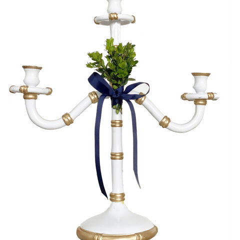 Three Arm Candelabra with Boxwood