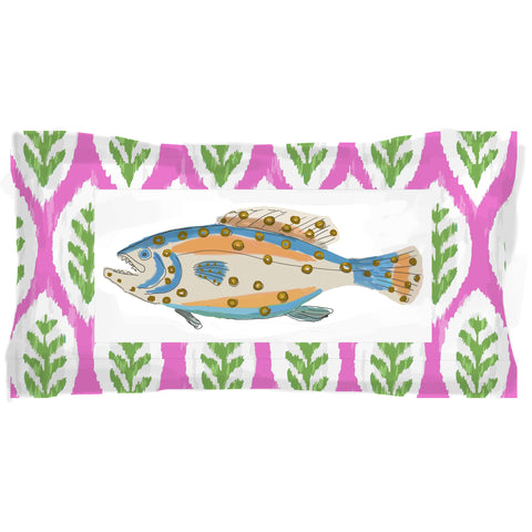 Fish Plaque Lumbar in Pink