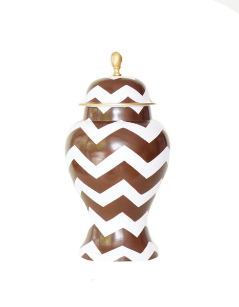 Ginger Jar, Large in Brown Bargello