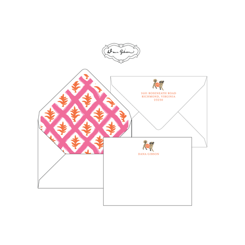 Pink Casa Personalized Stationery-Flat card with Envelope Liner