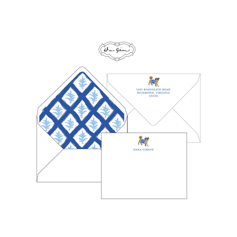 Blue Casa Personalized Stationery-Flat card with Envelope Liner