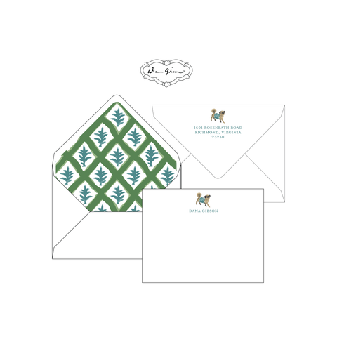 Green Casa Personalized Stationery-Flat card with Envelope Liner