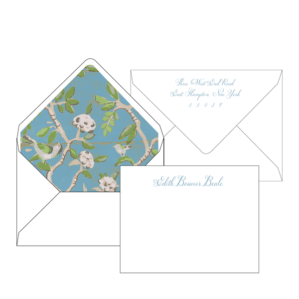 Ditchley Blue Personalized Stationery-Flat card with Envelope Liner