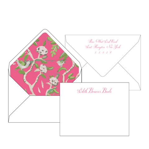 Ditchley Pink Personalized Stationery-Flat card with Envelope Liner