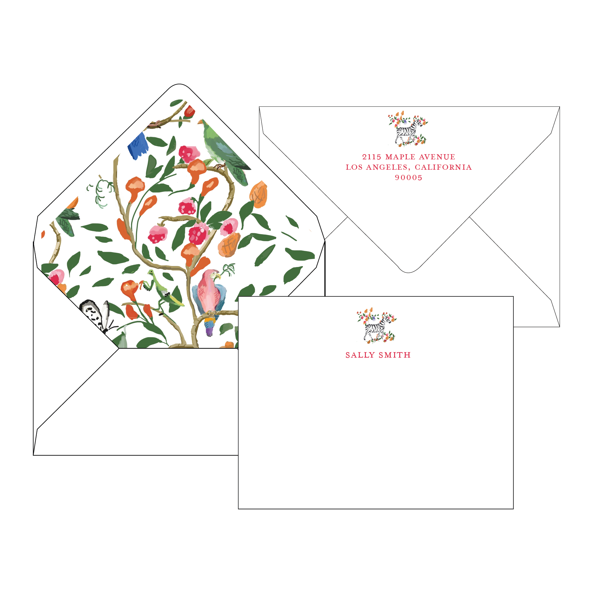 Pappadallo Zebra Personalized Stationery-Flat card with Envelope Liner