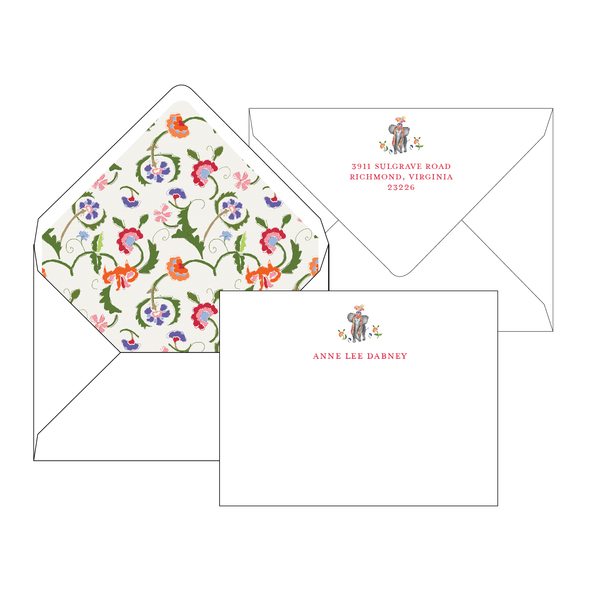Sissinghurst Elephant Personalized Stationery-Flat card with Envelope Liner