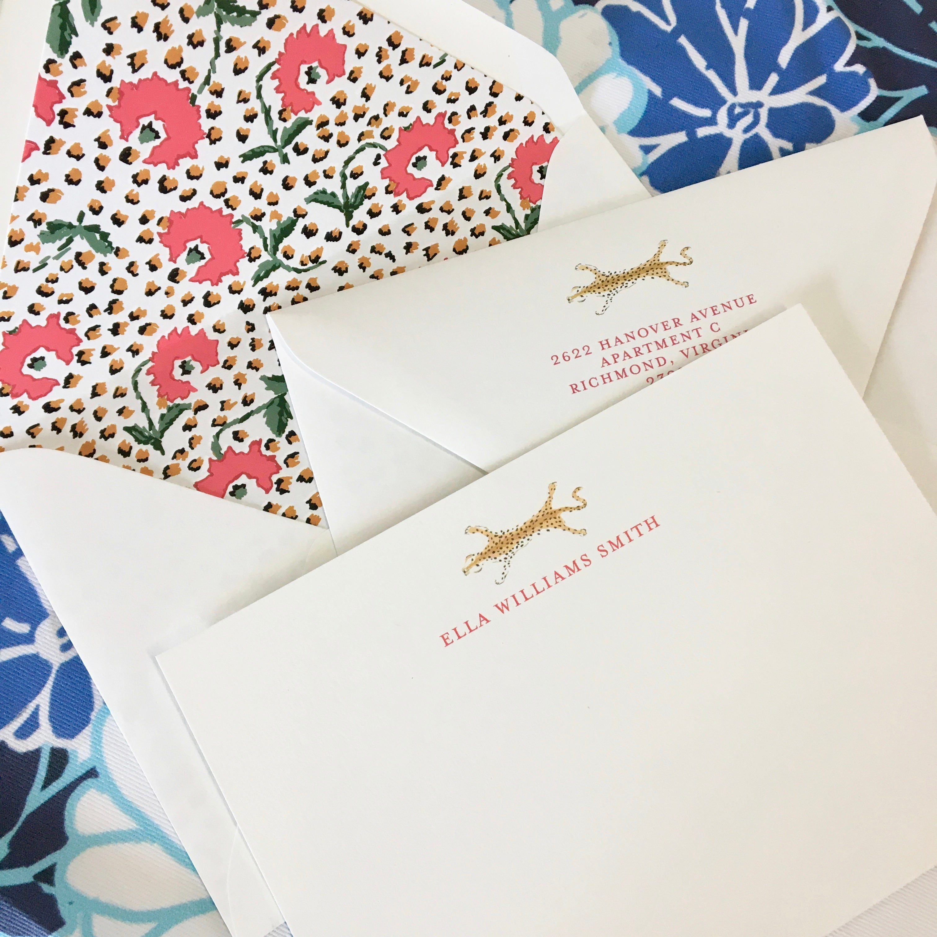 Turquoise Jaipur Personalized Stationery-Flat card with Envelope Liner