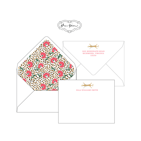 Red Jaipur Personalized Stationery-Flat card with Envelope Liner