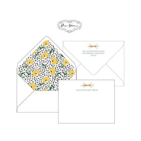 Yellow Jaipur Personalized Stationery-Flat card with Envelope Liner