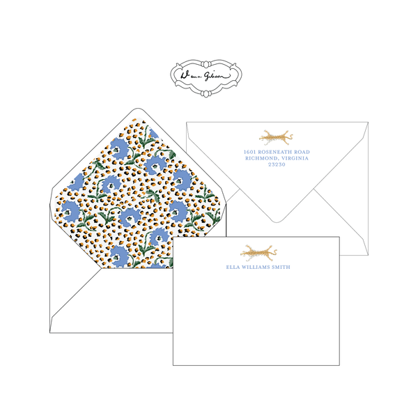 Blue Jaipur Personalized Stationery-Flat card with Envelope Liner