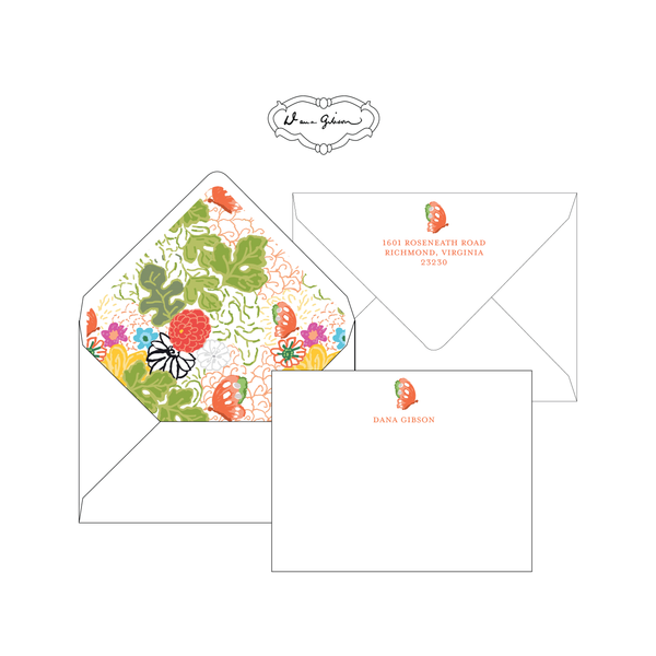 White Kimono Personalized Stationery-Flat card with Envelope Liner