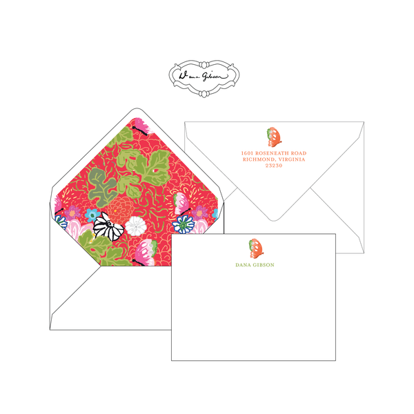 Red Kimono Personalized Stationery-Flat card with Envelope Liner