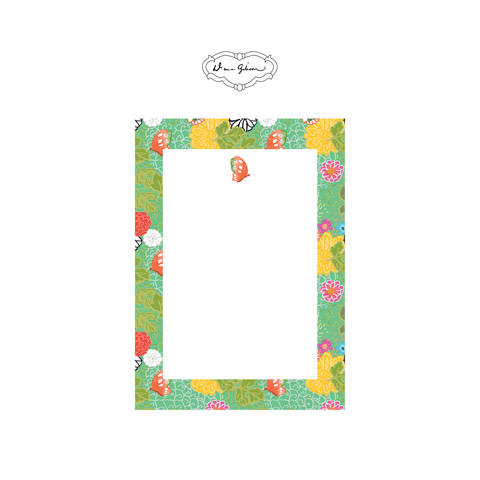 Kimono Butterfly Rectangle Notepad-Turquoise