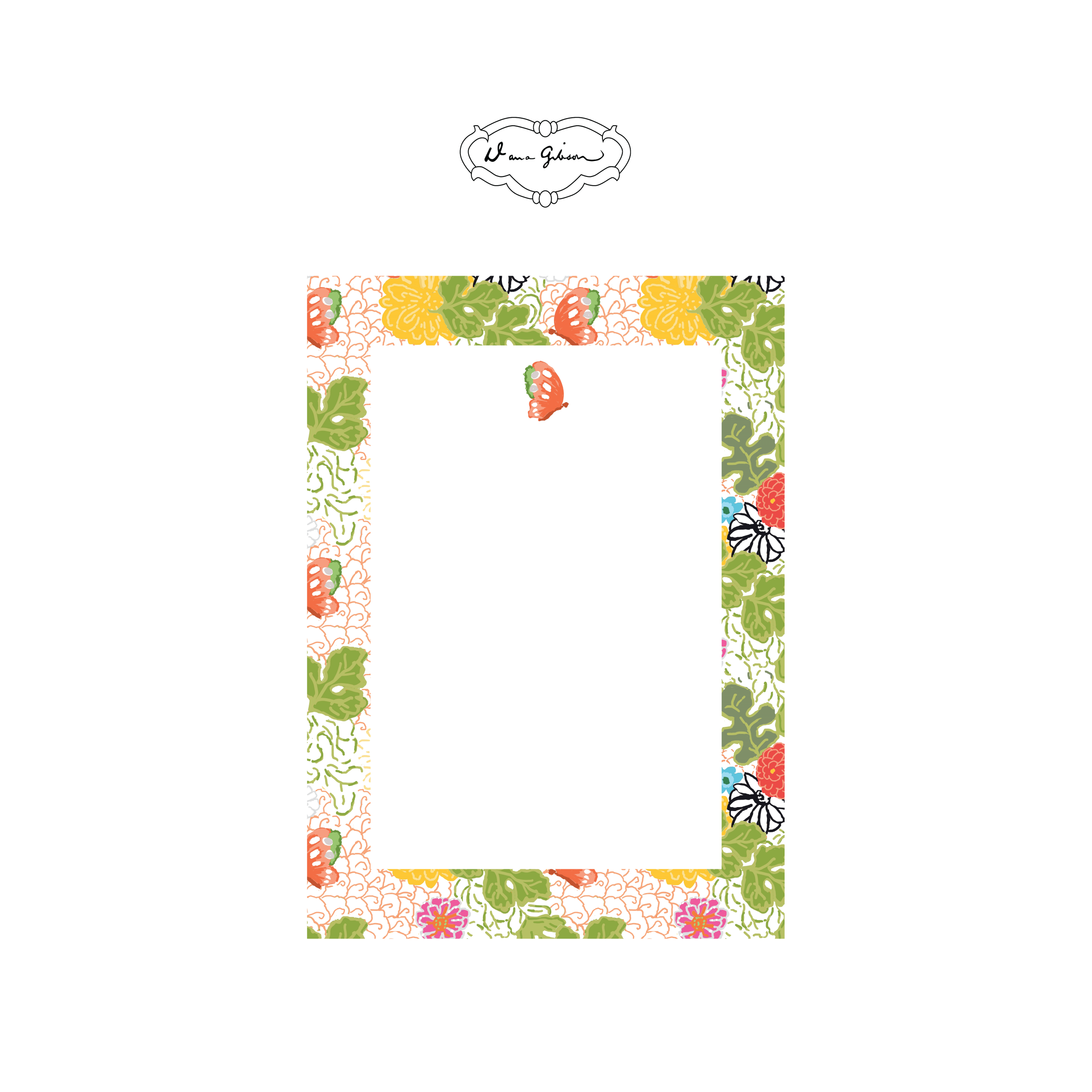 Kimono Butterfly Rectangle Notepad-White