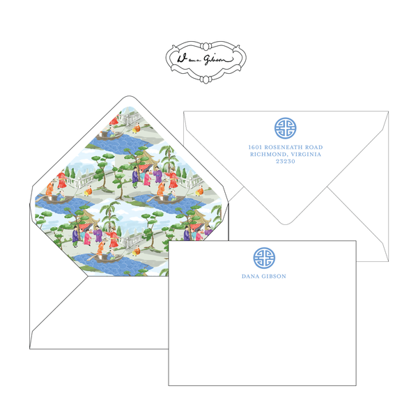 Blue Riverbank Chinoiserie Personalized Stationery-Flat card with Envelope Liner