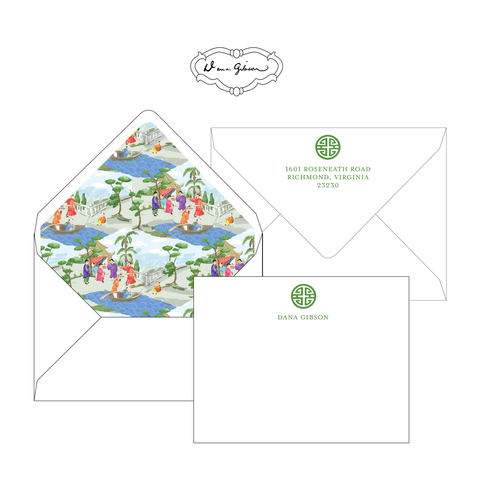 Green Riverbank Chinoiserie Personalized Stationery-Flat card with Envelope Liner