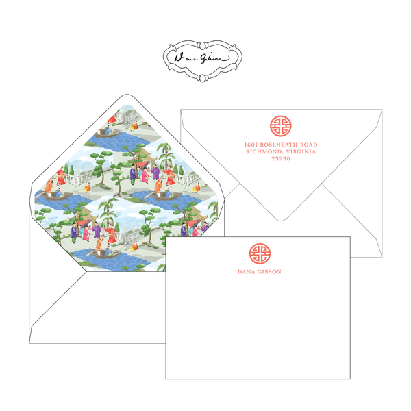 Coral Riverbank Chinoiserie Personalized Stationery-Flat card with Envelope Liner