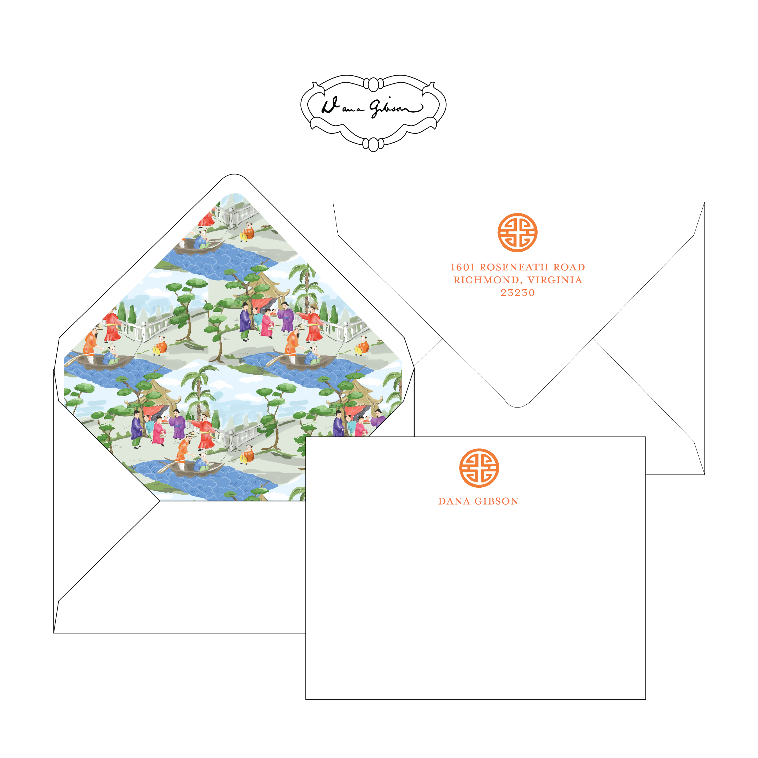 Orange Riverbank Chinoiserie Personalized Stationery-Flat card with Envelope Liner