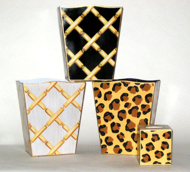 Bamboo and Leopard Wastebaskets