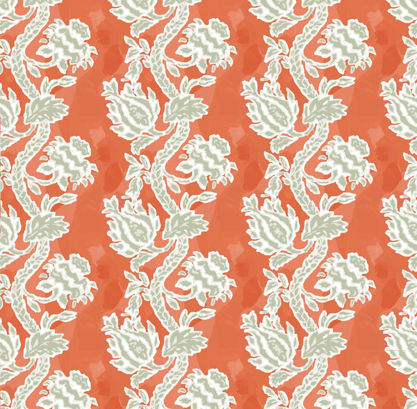 Lotus in Coral, Wall Paper and Fabric