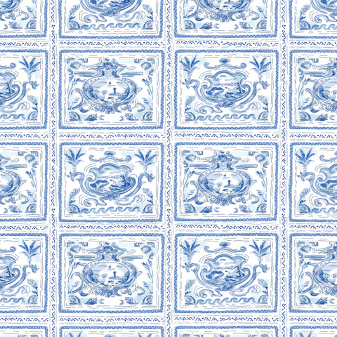 Pliny Toile in Blue, Wall Paper and Fabric