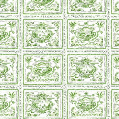 Pliny Toile in Green, Wall Paper and Fabric