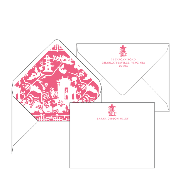 Xanadu Pink Personalized Stationery-Flat card with Envelope Liner