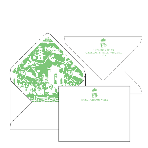 Xanadu Green Personalized Stationery-Flat card with Envelope Liner