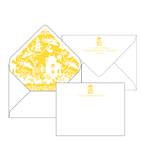 Xanadu Yellow Personalized Stationery-Flat card with Envelope Liner
