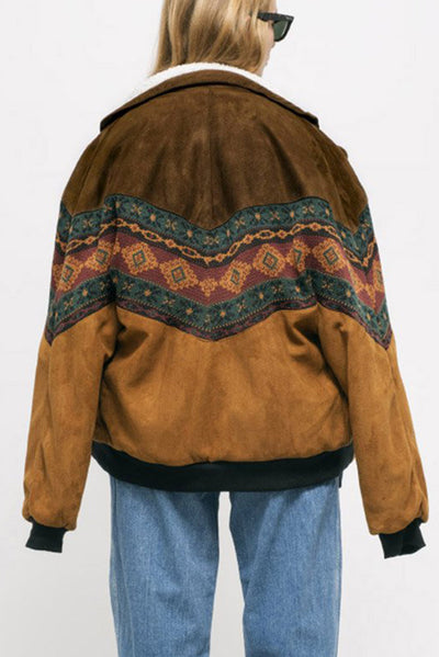 DAKOTA BROWN VEGAN NAVAJO BOMBER - Arizona Vintage