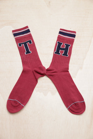 TOMMY HILFIGER PATCH BURGUNDY SOCKS