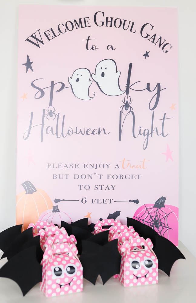Holly Loves Paper Covid Pink Halloween Night Sign and pink polka dot bat treat boxes