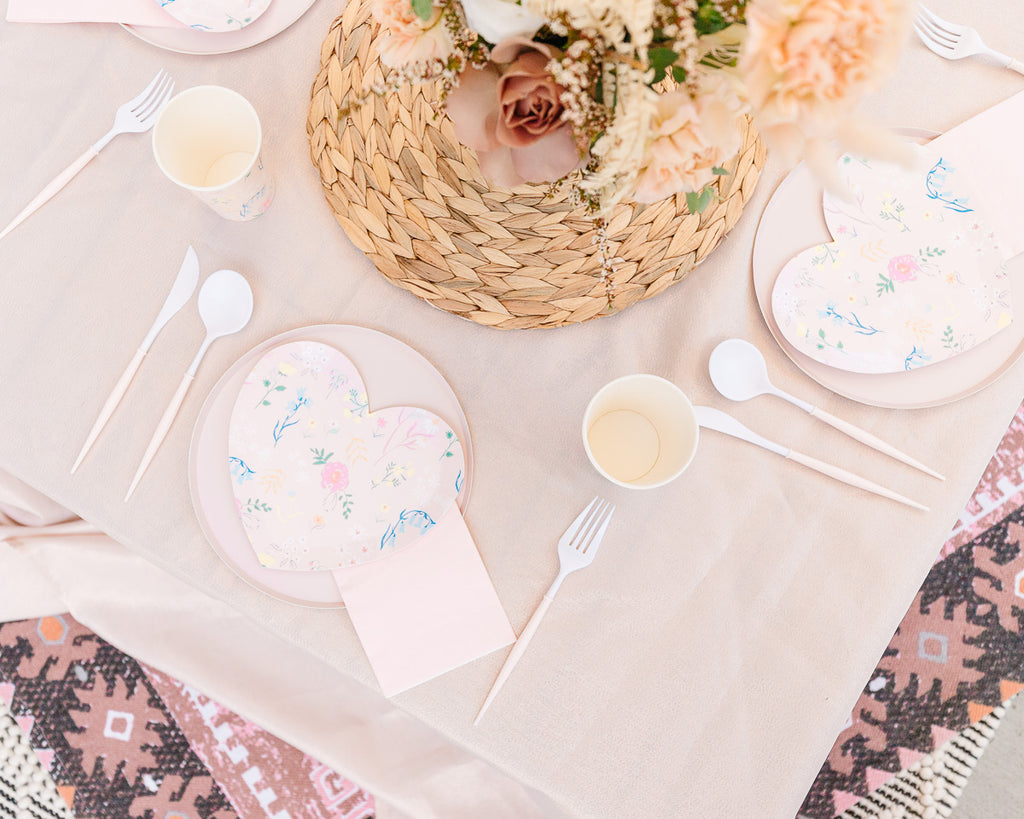 Wildflower heart plates Blush Bella cutlery Boho Party