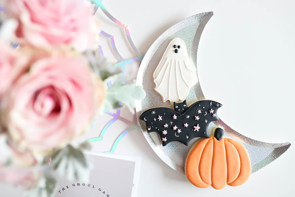Sugarbakers Cookie Co Covid Halloween Spooktacular Cookies, sparkle bat cookie, ghost cookie, pumpkin cookie A Little Confetti Party Blog