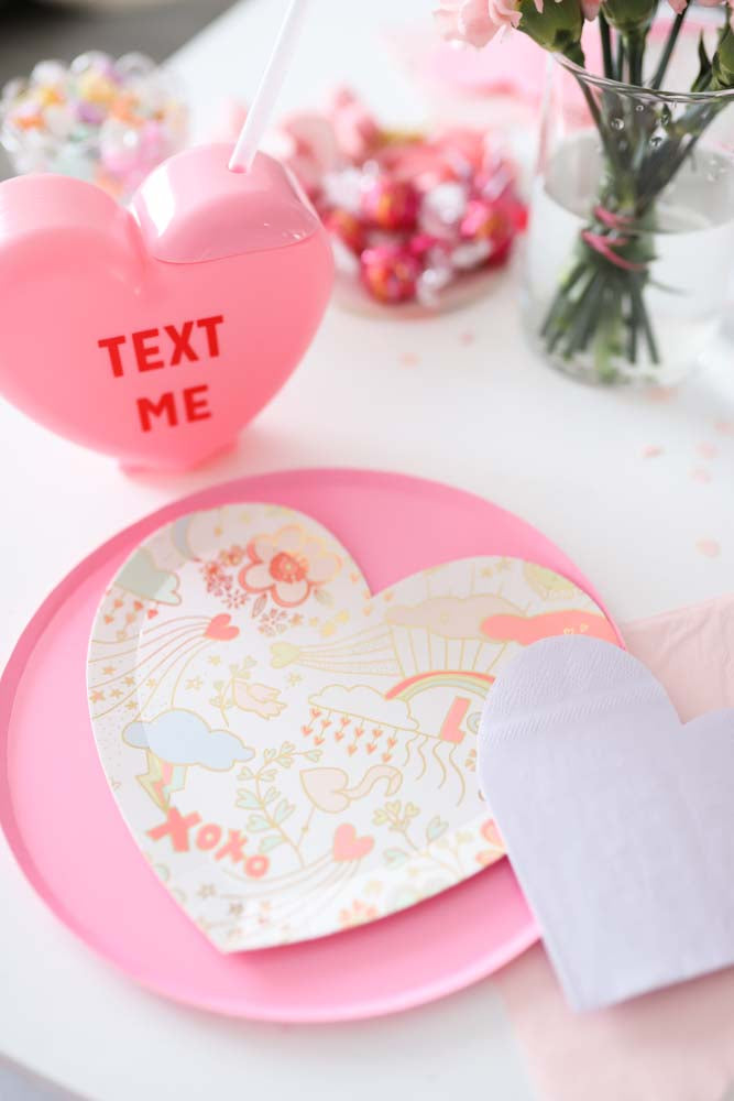 Valentine's Table with Meri Meri Doodle Plates,  Sweet Talk Tumblers from A Little Confetti