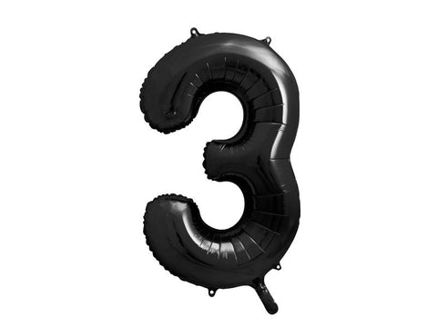 34 inch jumbo black number 3 foil balloon available at A Little Confetti