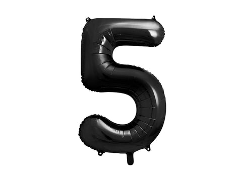 34 inch jumbo black number 5 foil balloon available at A Little Confetti