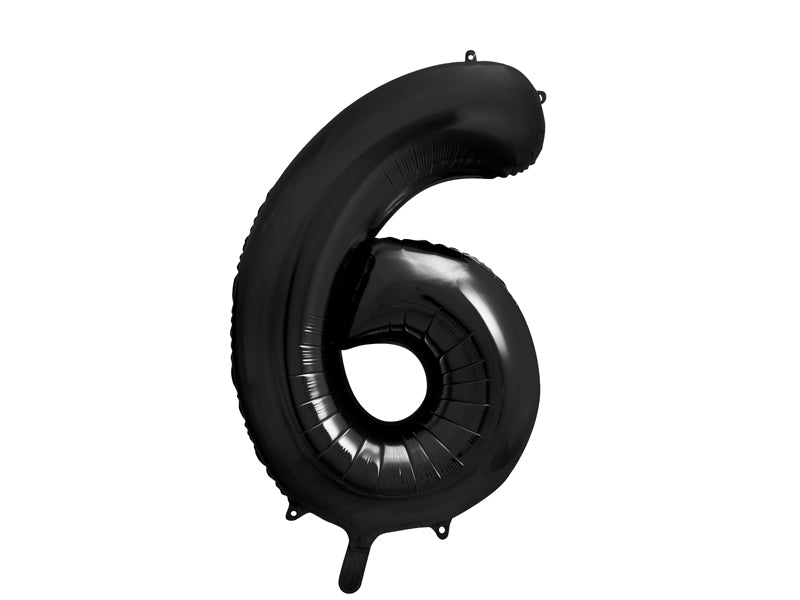 34 inch jumbo black number 6 foil balloon available at A Little Confetti