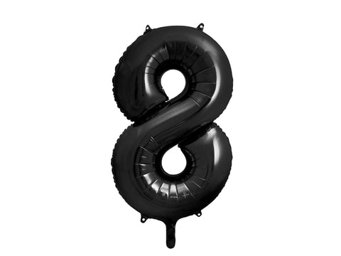 34 inch jumbo black number 8 foil balloon available at A Little Confetti