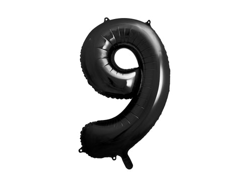 34 inch jumbo black number 9 foil balloon available at A Little Confetti