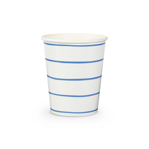 Blue Frenchie Striped Cups