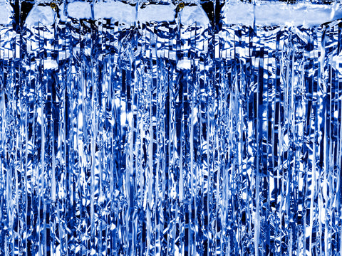 Blue Fringe Party Curtain Backdrop at A Little Confetti