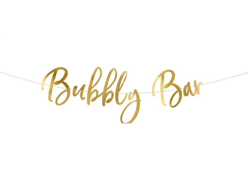 Gold Script Bubbly Bar Banner