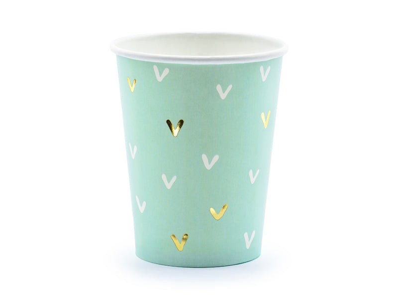 Cactus Party Cups, light green with white and gold foil details
