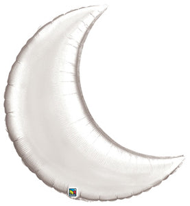 "35"" Silver Crescent Moon Foil Balloon - A Little Confetti"