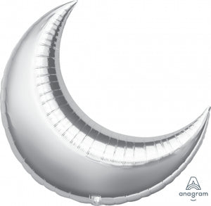 "17"" Silver Crescent Moon Foil Balloon"