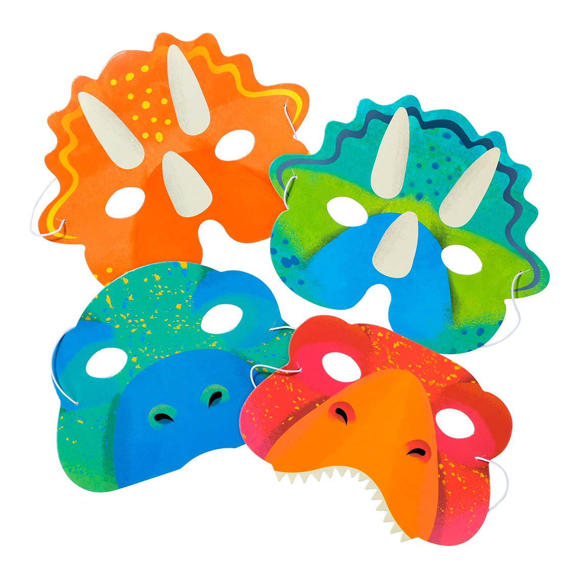 Dinosaur party mask in different designs and colours. At A Little Confetti