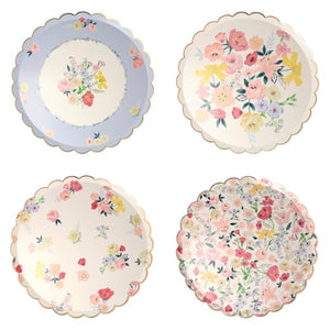 English Garden Dinner Plates with floral print, gold foil elements, perfect for a tea party. By Meri Meri, available at A Little Confetti