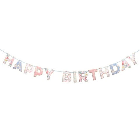English Garden Happy Birthday Garland with floral print, perfect for a tea party. By Meri Meri, available at A Little Confetti