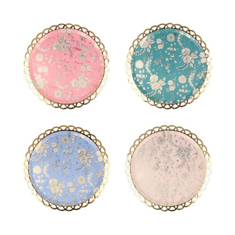 English Garden Lace Side Plates with floral print, perfect for a tea party. By Meri Meri, available at A Little Confetti